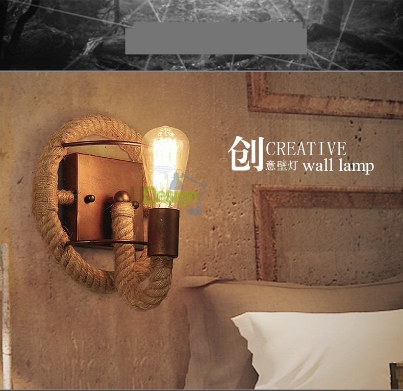 hemp cord wall lamp