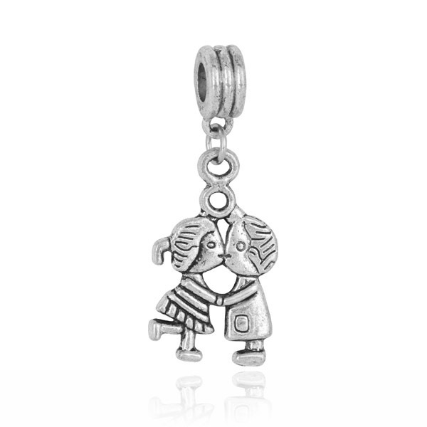 1pc European antique silver children cheer leader bead pendant charms Fits beads Charm Bracelets charms DGB033