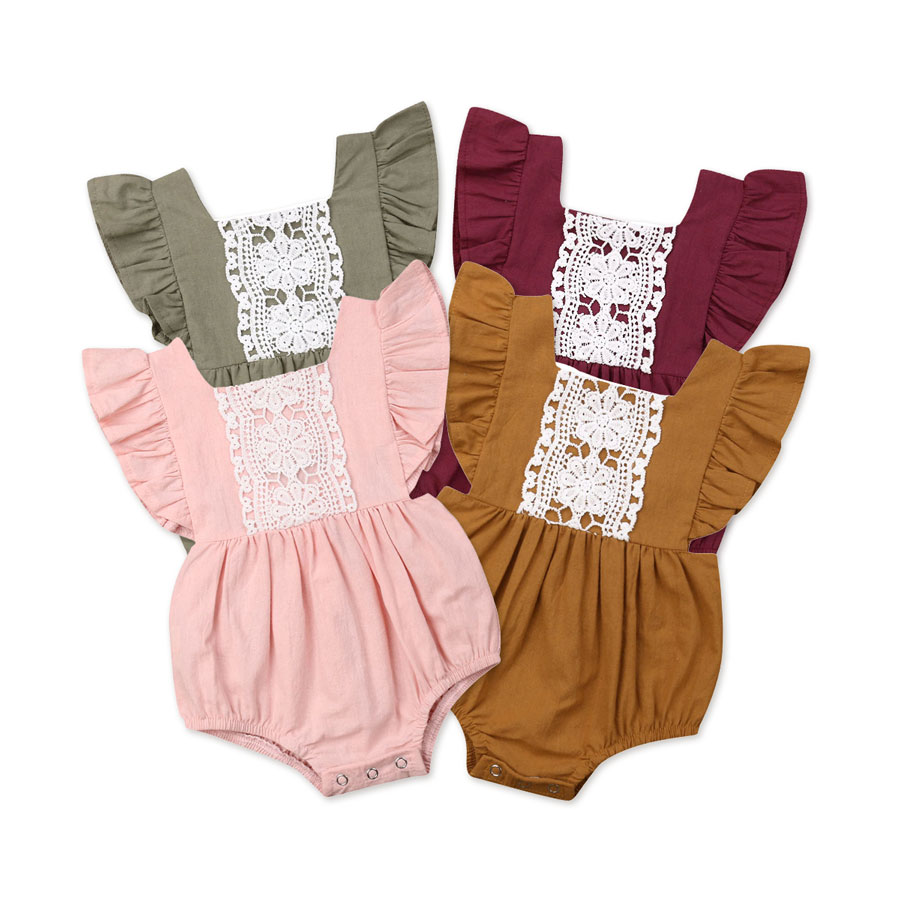 Newborn Baby Girls Ruffles   Rompers   Lace Flower Summer Infant Girl Jumpsuit Playsuit Cute Toddler Baby Girl Costumes Clothes