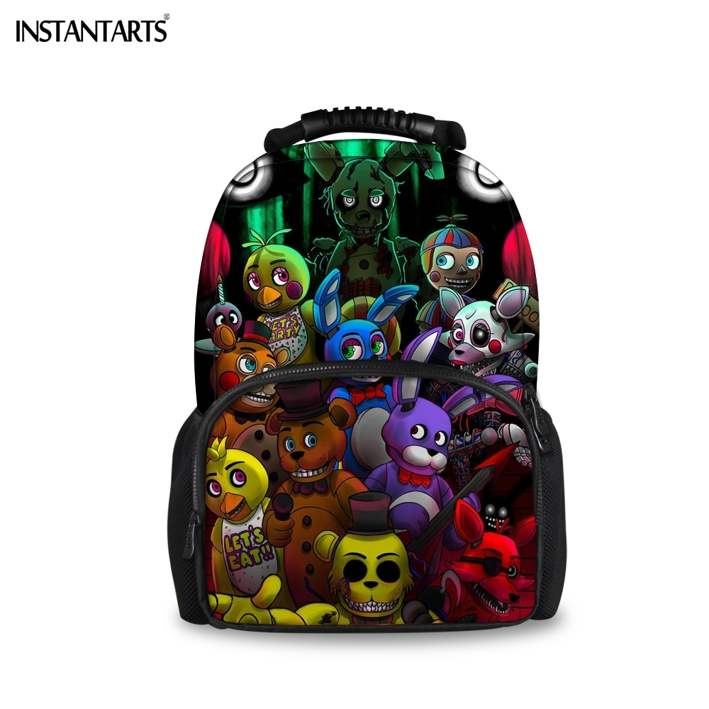 INSTANTARTS Fashion Anime Children 3D Felt Backpacks Five Nights At Freddys Print Teenage Boys Girls Rucksack Lap Top School Bag