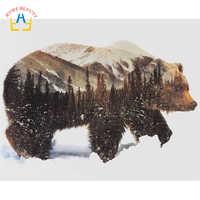 Картина маслом по номерам, ручная роспись, холст, настенная живопись, искусство, домашний декор, животные, картины, медведь, 40X50 см, сделай сам...