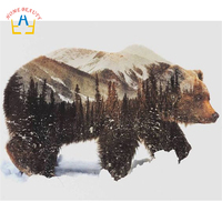 Oil Painting By Numbers Hand Painted Canvas Painting Wall Art Home Decor Animal Pictures Bear 40X50cm