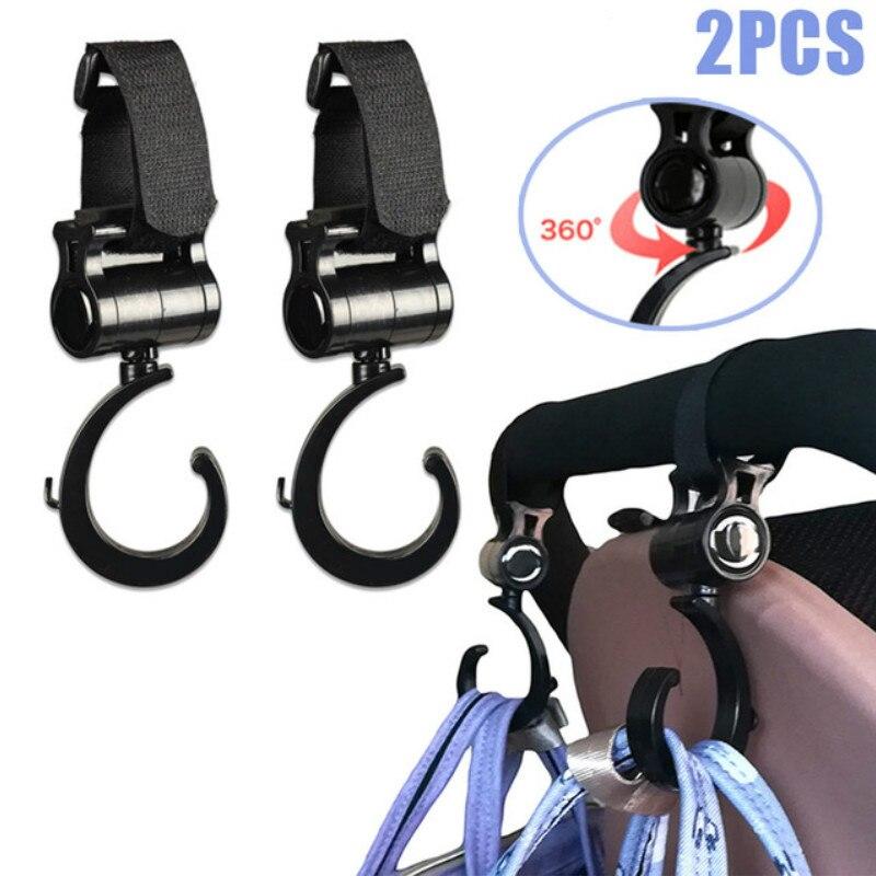 2pcs Baby Stroller Hook 360 Degree Rotating Cart Accessories Multi Hanger Carabiner Clip Pushchair Hooks Hanging Carrier Holder