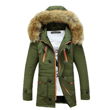 In the spring of 2017 new men 's casual long – sleeved cotton – padded jacket young fashion fur collar jacket S-XXXL 125