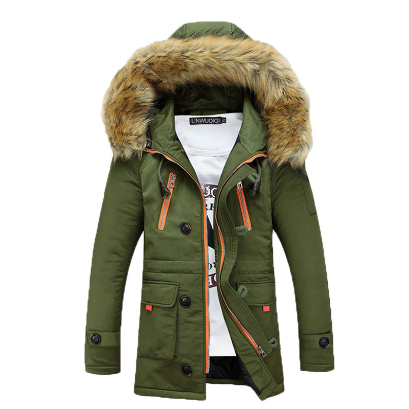 In the spring of 2017 new men 's casual long - sleeved cotton - padded jacket young fashion fur collar jacket S-XXXL 125