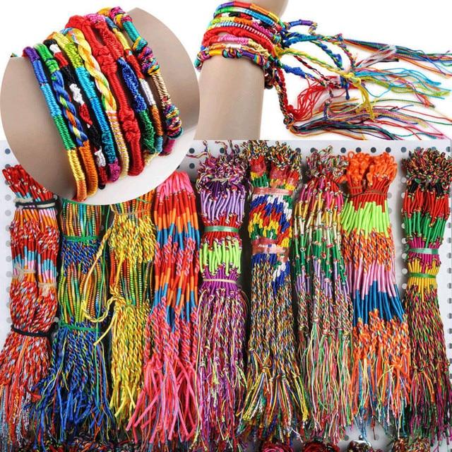 50 Pcs Armbänder Mädchen Armreifen Schmuck Geschenk DIY Charme Seil Armband Regenbogen Viele Braid Stränge Freundschaft Schnur Handarbeit Armband