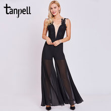 Tanpell jumpsuit style evening dresses black sleeveless appliques a line floor length dress women v neck formal evening dress(China)