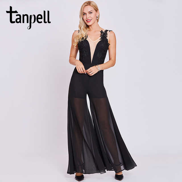 Tanpell jumpsuit style evening dresses black sleeveless appliques a line  floor length dress women v neck formal evening dress fee35a0abd4c