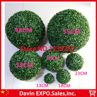 New 2Pcs 48CM Artificial Grass Topiary Balls Out/Indoor Hanging Ball For Wedding Party Home Yard Garden Decoration Flower Ball