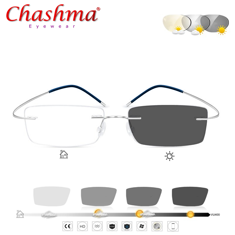 Transition Sunglasses Titanium Photochromic Reading Glasses Men Hyperopia Presbyopia With Diopters Outdoor Presbyopia Glasses