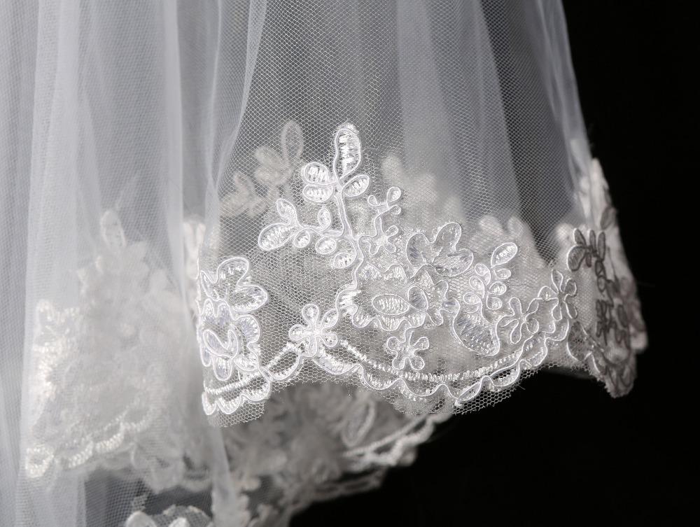 Elegant Cheap White/Ivory Elegant Beauty Two Layers Short Net Tulle Bride Veil 1.5m Long Lace Edge Tulle Veil For Wedding SLV02 3