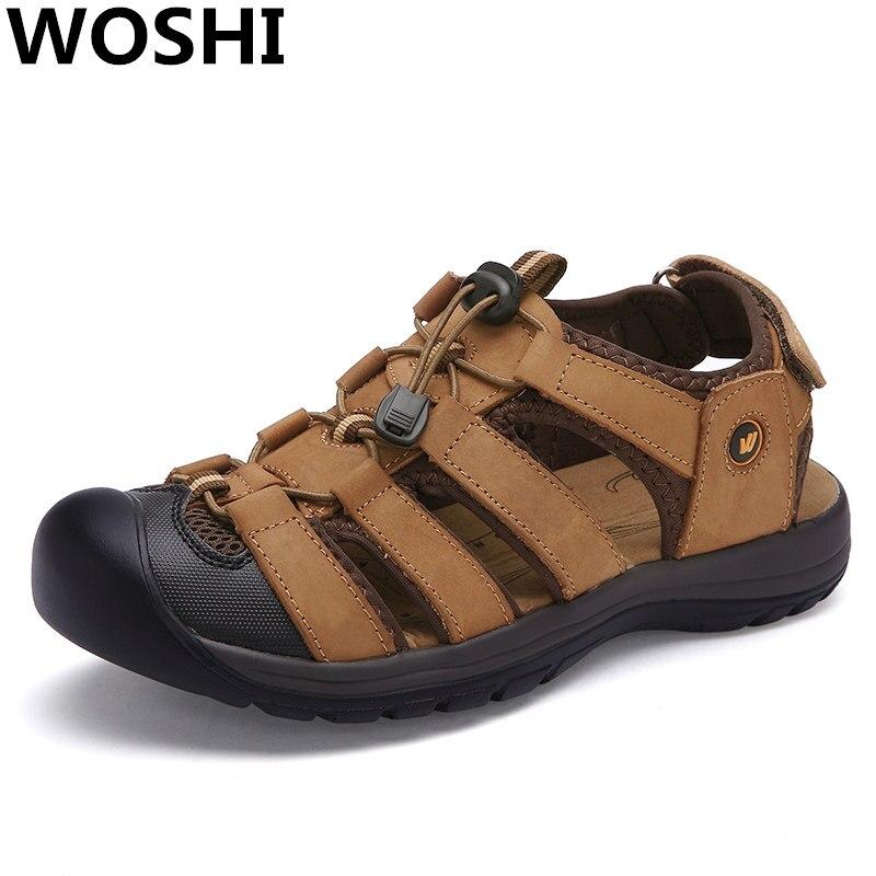 Качество Натуральная кожа открытый пляжные сандалии Для мужчин мягкие Рыбак летний спортивная обувь Для мужчин пляжные удобные шлепанцы Б... ...