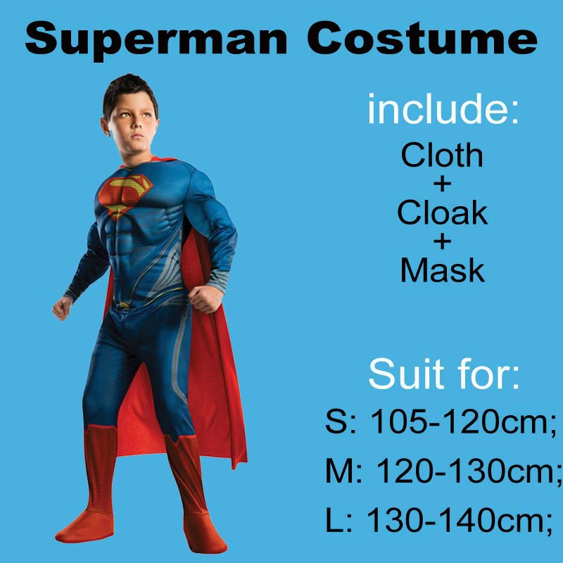 Purim Superman Costume For Kids 105 Between 140cm Halloween Childrens Superman Costume Cosplay Party Superman Dress For Kid