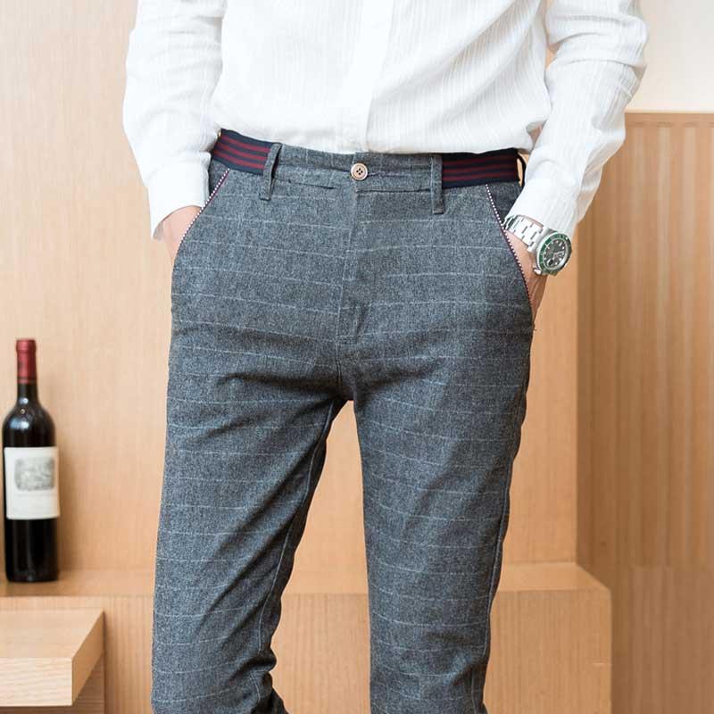 eae56b136472c Plaid Casual Pants Men Slim Fit Grey Black England Style Dress Pants ...