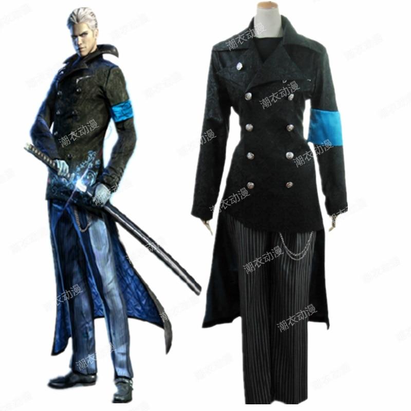 Devil May Cry DMC 5 Cosplay Vergil Black Trench Coat ...