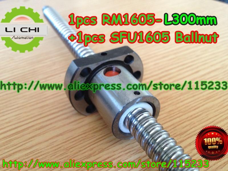 ФОТО Best Price  1pcs Ball screw SFU1605 - L300mm+ 1pcs RM1605 Ballscrew Ballnut for CNC and BK/BF12 standard processing
