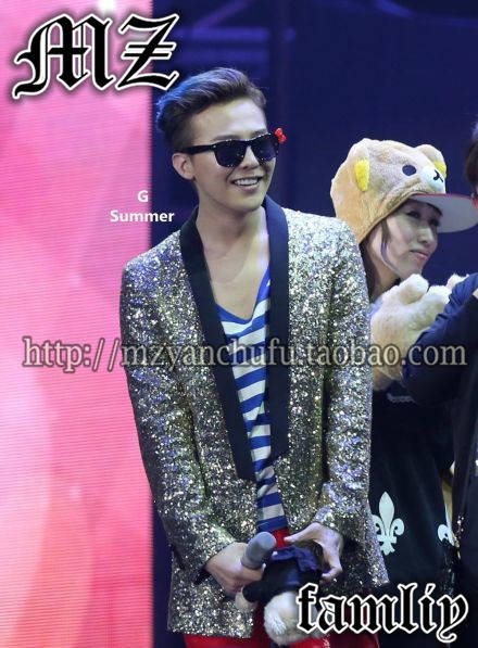 NEW Gd fm bigbang men fashion gold paillette costume leather collar outerwear suit top stage singer costumes