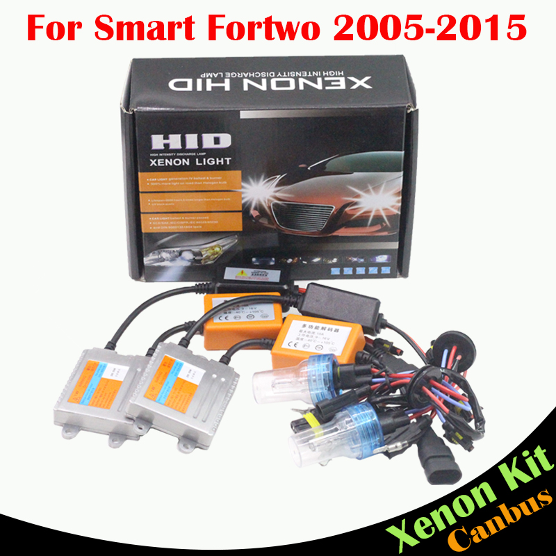 ФОТО Cawanerl 55W Car Light HID Xenon Kit AC No Error Ballast Lamp Auto Headlight Low Beam 3000K-8000K For Smart Fortwo 2005-2015