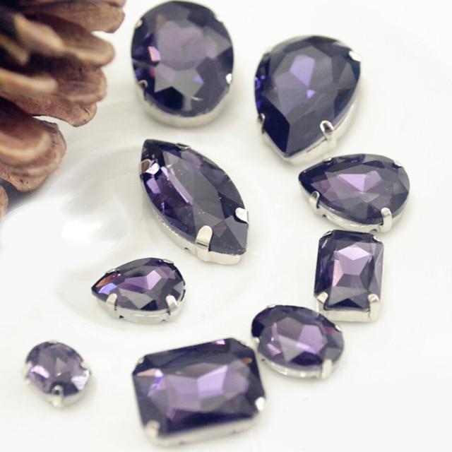 Claw Rhinestones Water Drop Amethyst Strass Rivoli 8mm 8x13mm 10x14mm 13x18mm Evening Dress Decorations Sewing On Rhinestones