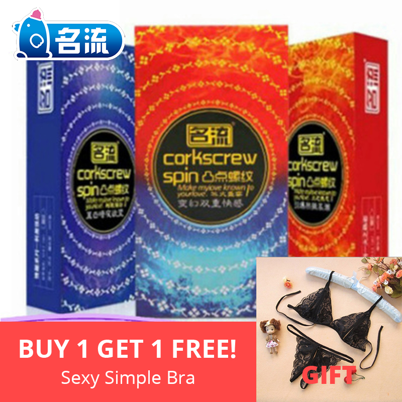 MingLiu 10pcs lot Condoms G spot Ribbed Threaded Condom Delay Ejaculation Male Safe contraception Stimulation Dotted Ribbed in Condoms from Beauty Health