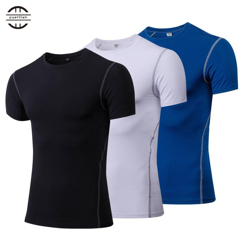 Yuerlian Quick Dry Compressão Camisa Running Tênis De Fitness Apertado de Manga Curta T-shirt dos homens Camisa De Futebol Sportswear Ginásio Demix