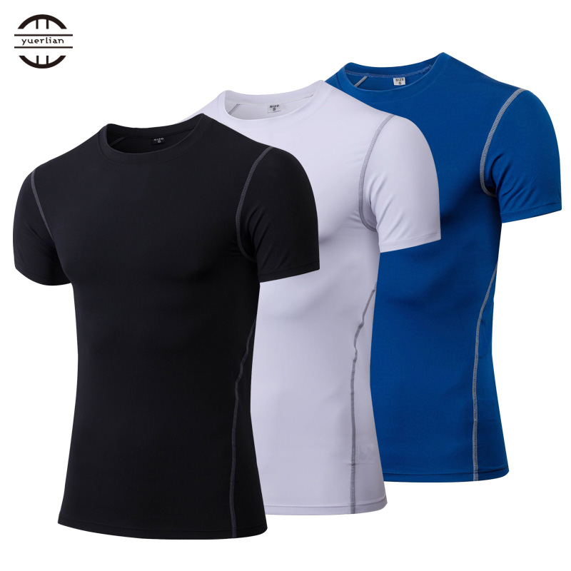 Yuerlian Quick Dry Compression Men's Short Sleeve T-Shirts Running Shirt Fitness Tight Tennis Soccer Jersey Gym Demix Sportswear yuerlian белый l