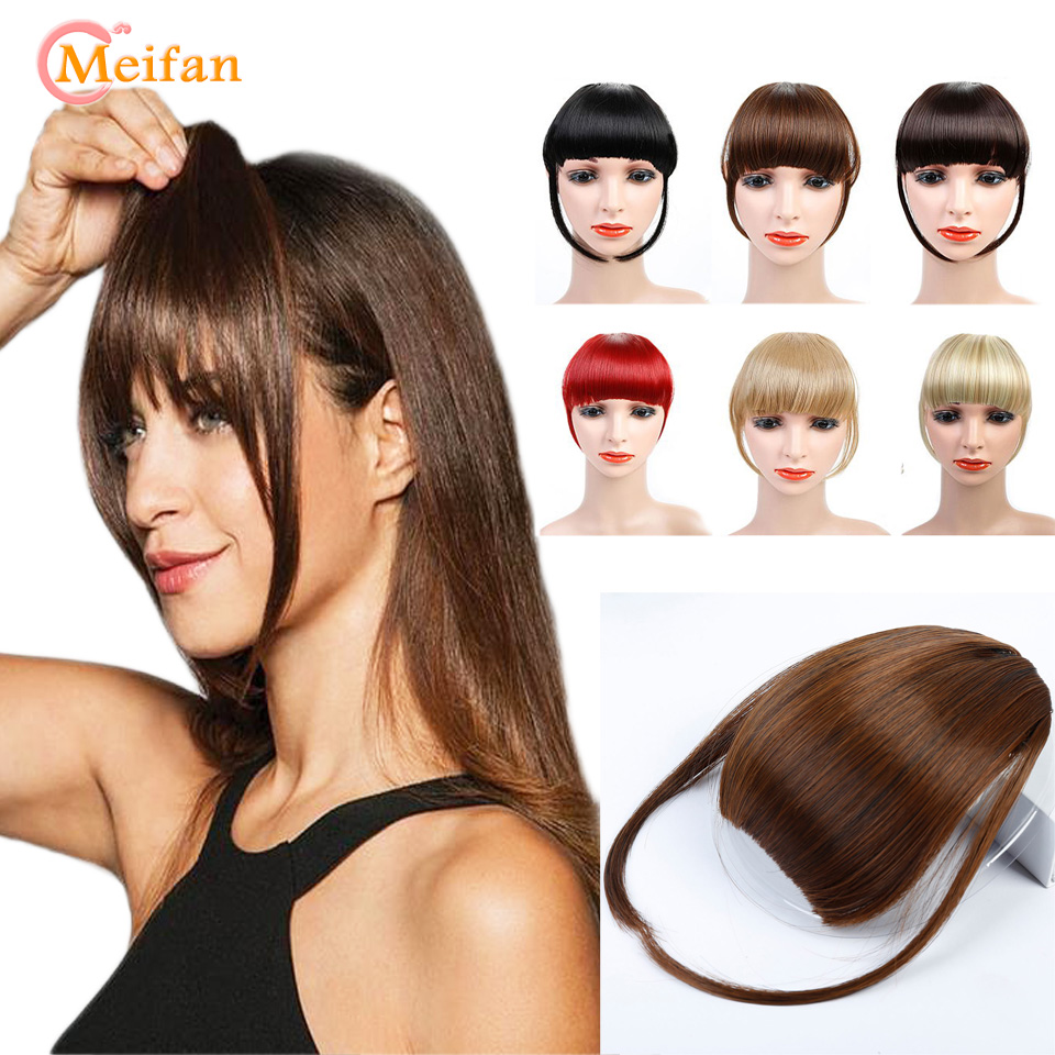 MEIFAN Short Hair Bangs With Two Long Sides Clip In Hair Extensions Heat Resistant Synthetic Nature False Fringe