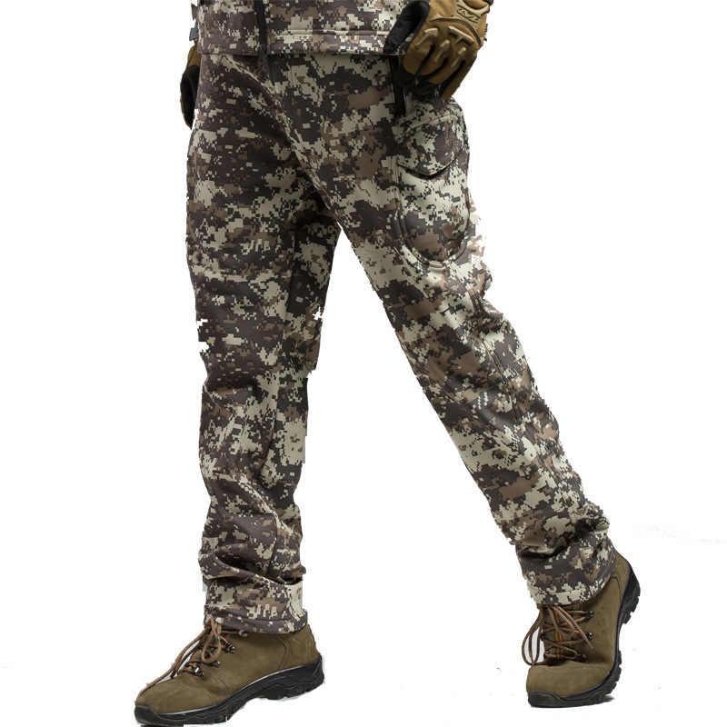Polowanie na zewnątrz spodnie wojskowe Tactical Soft shell spodnie męskie rekina wodoodporna utrzymać ciepłe polary Softshell spodnie do wędrówek pieszych