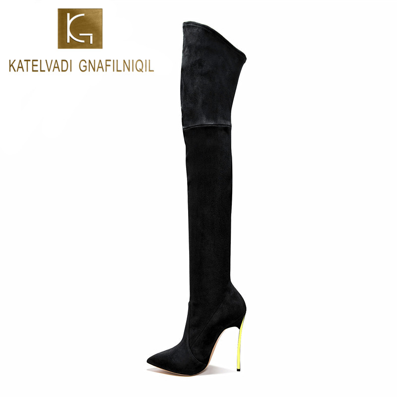 Winter Women Boots 2017 Stretch Slim Thigh High Boots With Fur Fashion Sexy Over the Knee Boots 10CM High Heel Shoes Woman K-060 2017 winter cow suede slim boots sexy over the knee high women snow boots women s fashion winter thigh high boots shoes woman