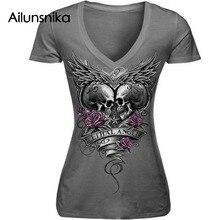 Dámské tričko s motivem lebky, krátký rukáv