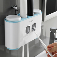 Bathroom Automatic Toothpaste Dispenser Toothpaste squeezer Wall Paste Mounted 4 cup Toothbrush holder Bathroom accessories set