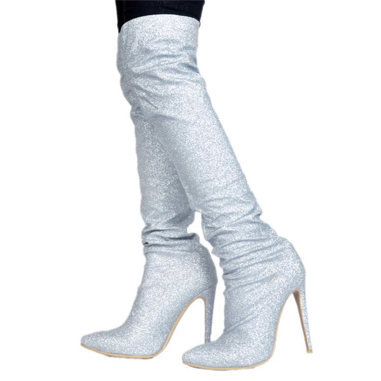 Botas feminina plus size 45 sliver high heel pointed toe long thigh high  boots glitter botines 1e9ee6e6a919