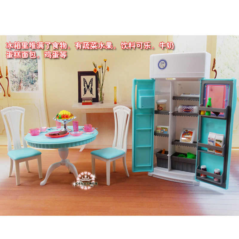 For Barbie Doll Furniture Accessories Plastic Toy Kitchen Table Tableware Chair Refrigerator Drink Fruit Set  Gift Girl DIY