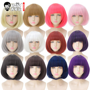 Image 4 - HSIU 35cm short bobo Wig Black white purple blue red yellow high temperature fiber Synthetic Wigs Costume Party Cosplay Wig