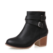 Size 34-43 Autumn Winter Women Ankle Boots High Heel Buckle Boot Platform Round Toe Sexy Boots Thick Heels Flock Shoes G035