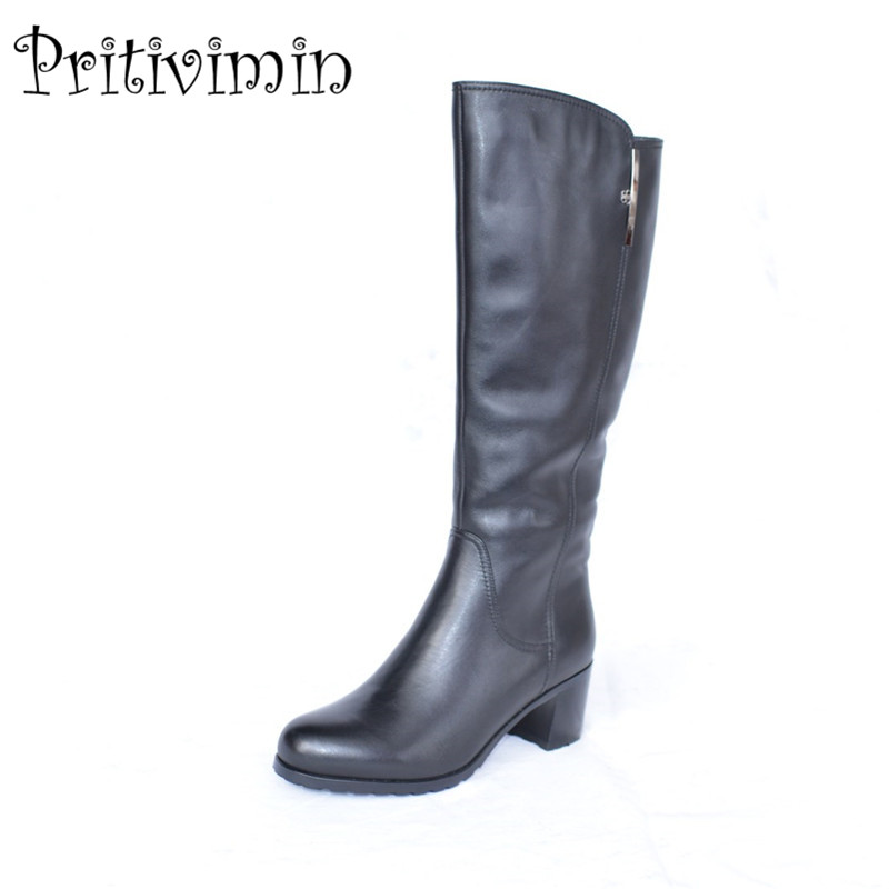 2017 Fashion winter women botas mujer shoes Ladies cow leather bottes femmes girl heel wool lining long boots Pritivimin FN54 2017 fashion women boots botas mujer zapatos mujer ankle boots for women thigh high boots chaussure femme bottes femmes 2016