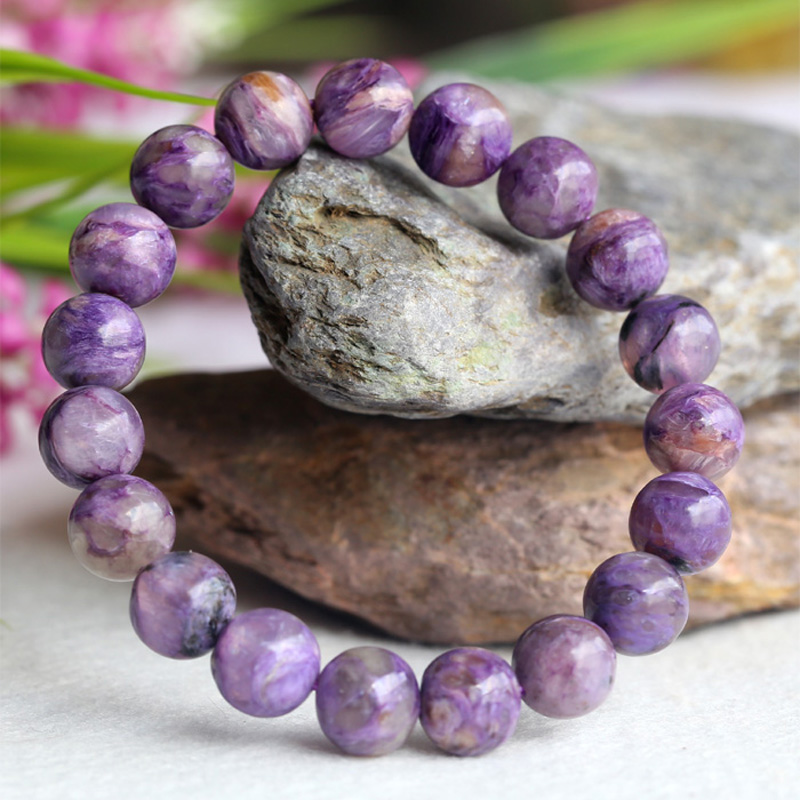 Natural Genuine Purple Charoite Finished Stretch Bracelet Round Loose 10mm beads Jewelry DIY 04107Natural Genuine Purple Charoite Finished Stretch Bracelet Round Loose 10mm beads Jewelry DIY 04107