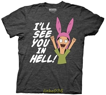 Gildan Bobs Burgers Louise I Will See You in Hell Adult Heather Charcoal T-shirt недорого