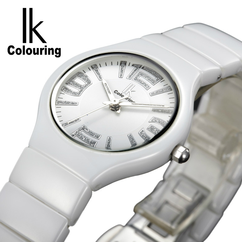 Womens Fashion White Ceramic Band luxurious Ladies Watches Top Brand Luxury 3ATM Daily Water Resistant IK