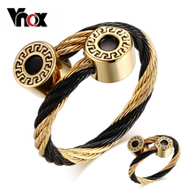 Vnox Bracelet and Ring Jewelry Sets for Women Stainless Steel Wire Adjustable Size
