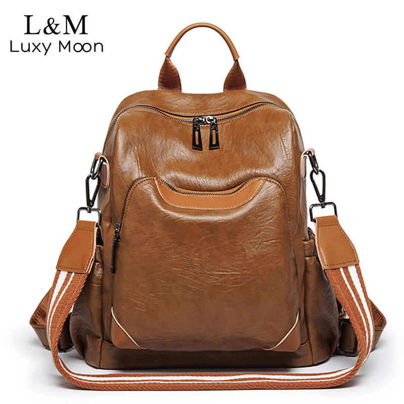 fe368f7e77c US $29.4 46% OFF|Vintage Leather Women Backpack Luxury Travel Backpacks  Designer Female School Bags For Teenage Girls Big Bagpack Mochila XA415H-in  ...