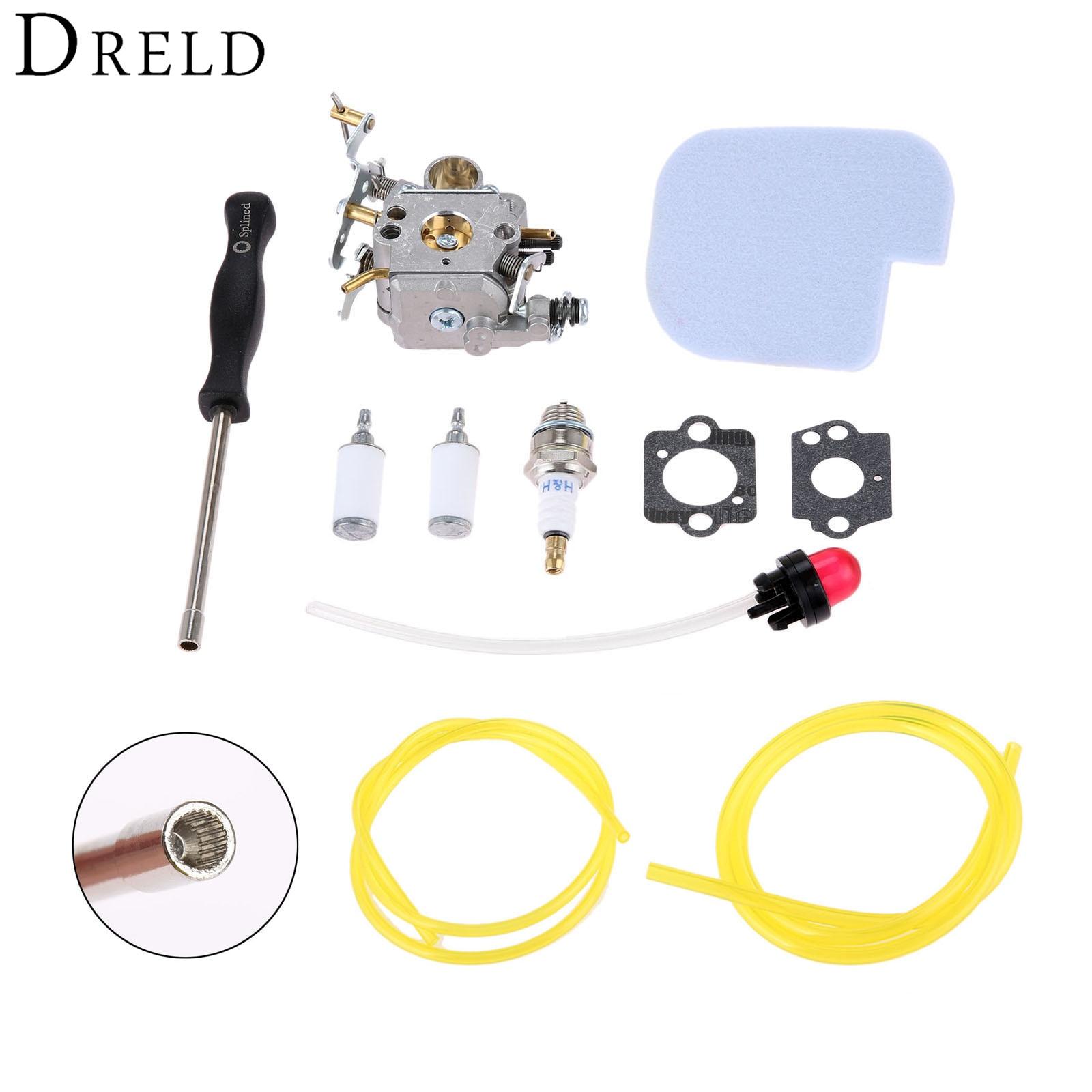 DRELD Carburador Carb + Junta + Filtro De Combustível + Primer Bulb + Filtro de Ar + Vela + Ferramenta Spined para Motosserra Poulan Artesão C1M-W26