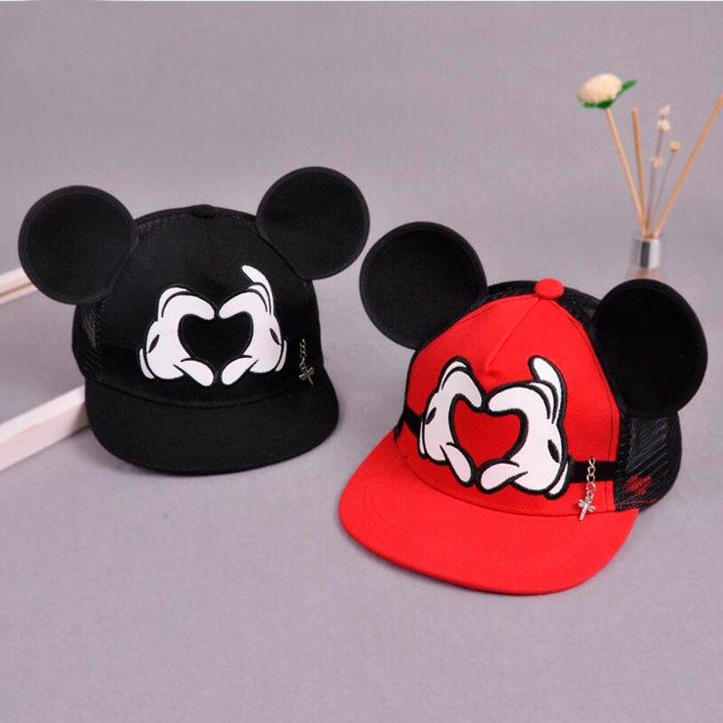 New Baseball Cap Children Mesh Snapback Summer Cap Cartoon Mickey Lovely Sun Hat Casquette Hip Hop Hat For Boys Girls
