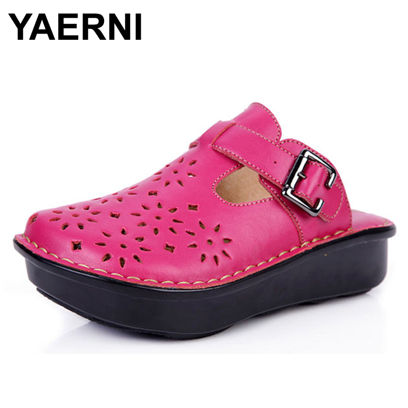YAERNI Women Flat Shoes Hand-made Slip on Cut-outs Platform Shoes Authentic Leather Ladies Shoes Flats Female Summer Footwear 2018 new women flats shoes ballet flats fashion slip on cut outs flat women shoes sweet hollow summer female shoes casual shoes