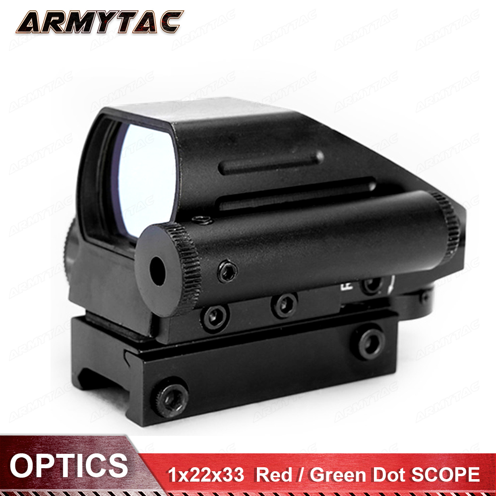 Tomcat 1x22x33 Hunting 4 Reticles Red Green Dot Scope Electro Gun Sight With Side Red Laser Sight Combo HD 103B