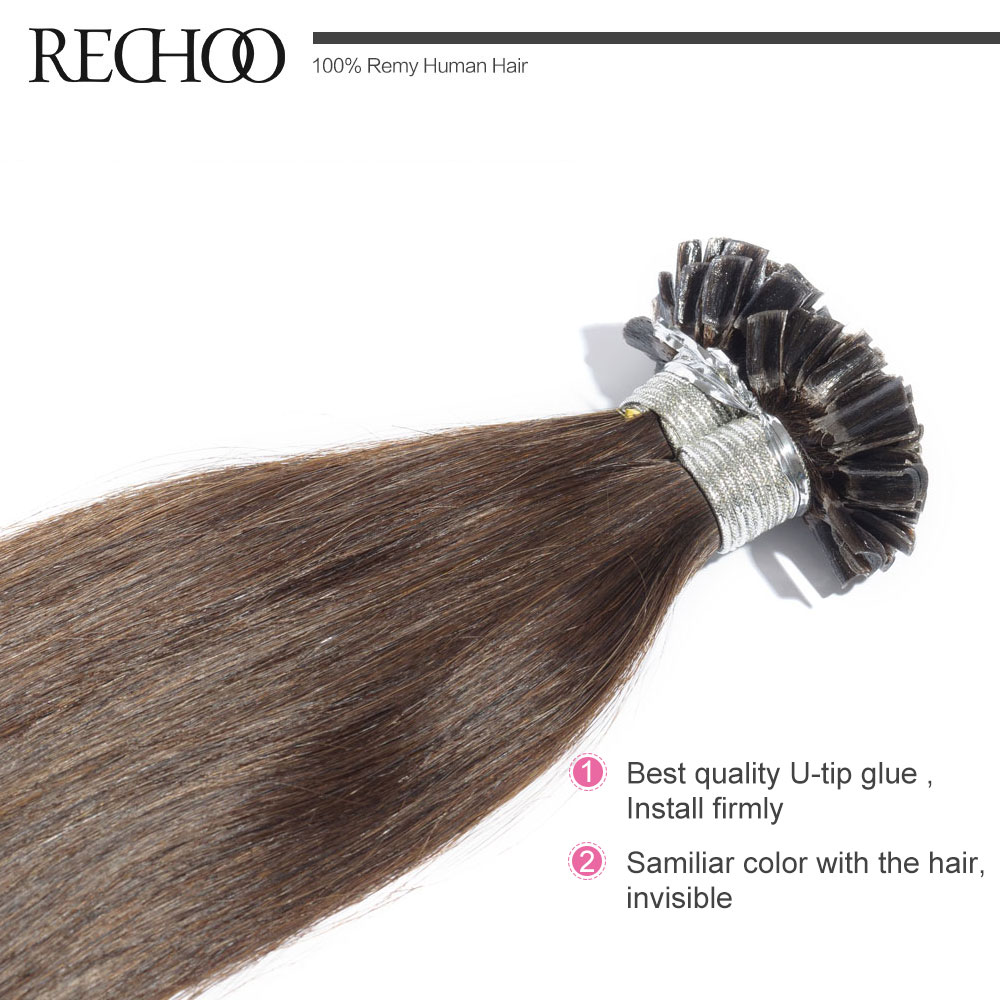 Aliexpress Rechoo 1g Strand Nail U Tip Pre Bonded Keratin Glue Non Remy Natural Hair Extensions 100 Strands 18inch 26inch Real Human From