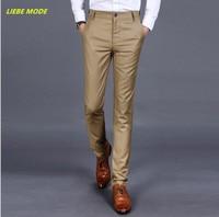 2016 Western Style Autumn Winter Men Skinny Suit Pants Mens Slim Fit Formal Dress Pants Black