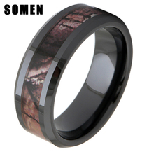 8mm Black Ceramic Ring Forest Floor Foliage Camo Pattern Inlay Wedding Band цена