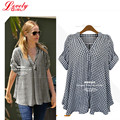 Plus Size Plaid Shirts For Women 2016 Summer New Fashion Summer Tops V-neck Collar Casual Ladies Clothing Big Size Woman Top