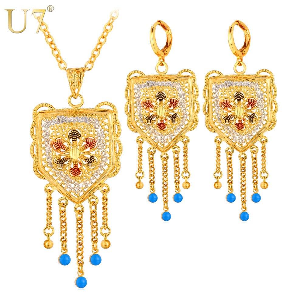 U7 Wedding Accessories Tassels Long Necklace Set Gold Color Trendy